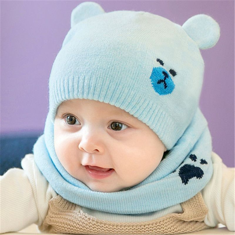 2pcs/set Fashion Newborn Hats Knitted Warm Bear Round Machine Cap Protects Ear Bonnet Baby Winter Caps + Scarf Suits