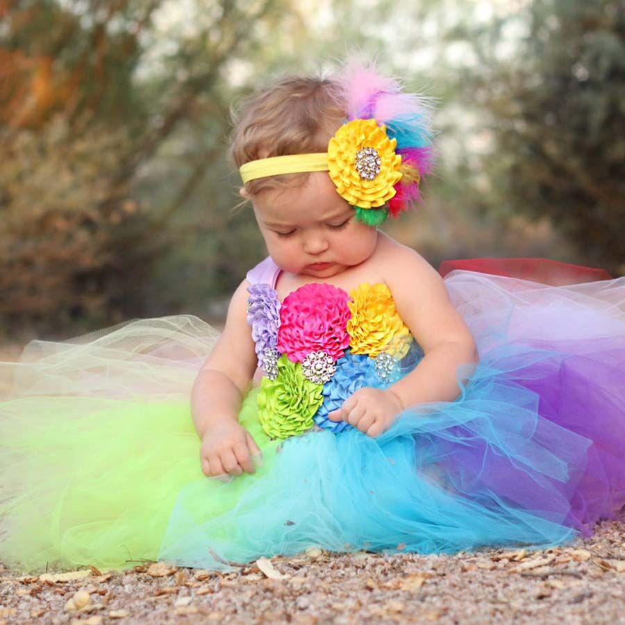 Arc-en-ciel complet Tutu robe Crochet bébé Tulle robe avec bandeau 1st robe d'anniversaire nouveau-né Photo accessoires bonbons terre Tutu TS092