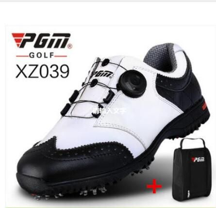 PGM Golf Sneakers Genuine leather Breathable Waterproof Golf Shoes Men Movable soft spike golf shoes with laces rotating device