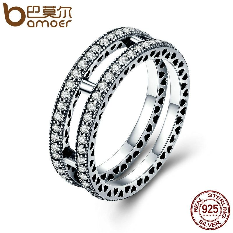 BAMOER Authentic 100% 925 Sterling Silver Double Hearts, Clear CZ Finger Ring for Women Anel Wedding Engagement Jewelry PA7644