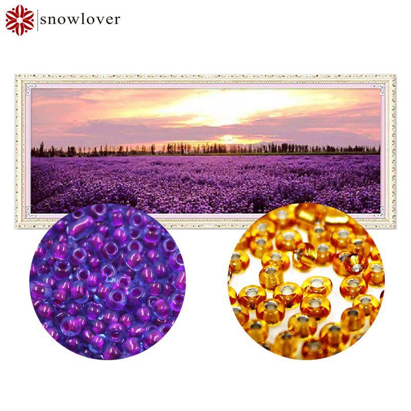 Snowlover, perles, Couture, BRICOLAGE, perle point de Croix, point de broderie, Précise Imprimé peinture, Modèle scenic croix, violet love816