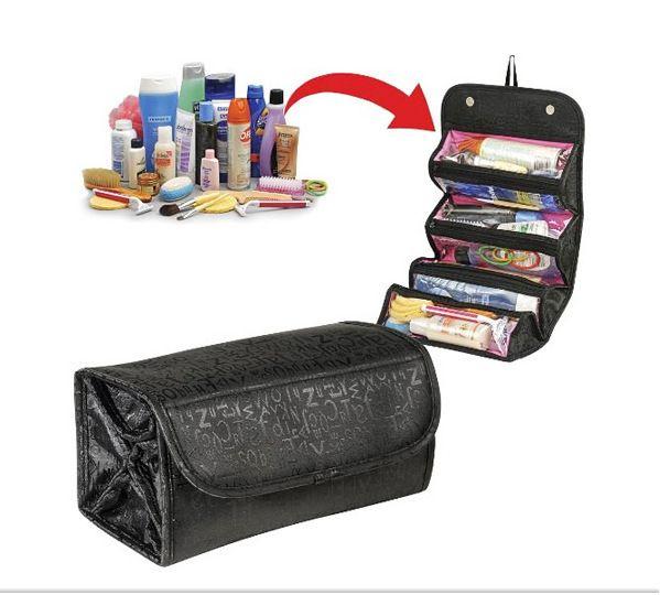 Roll N Go Portable pliant sac de rangement de voyage monté suspendu sac cosmétique maquillage organisateur quatre couches
