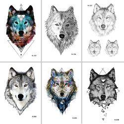 Wyuen diseño caliente Lobo tatuaje temporal para las mujeres Cuerpo arte animal impermeable de los hombres tatuaje pegatina 9.8x6 cm falso tatuaje a-069
