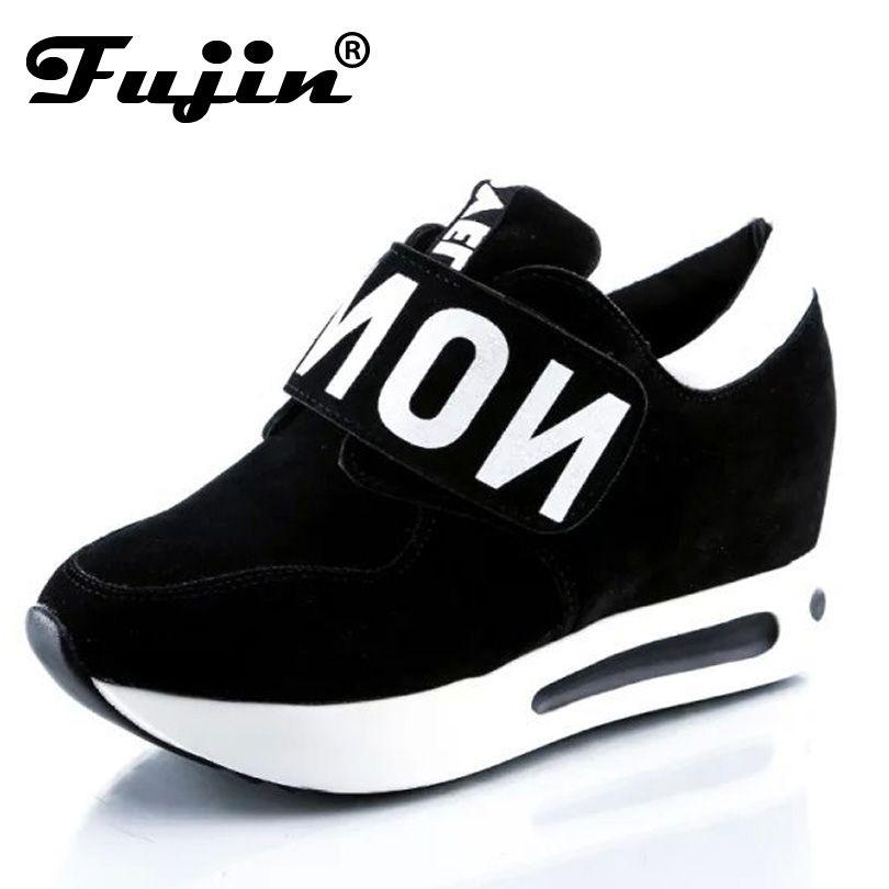 Фуцзинь бренд весна-осень клинья Высокие каблуки женская повседневная обувь вулканизируют Для женщин без шнуровки обувь на платформе женс...