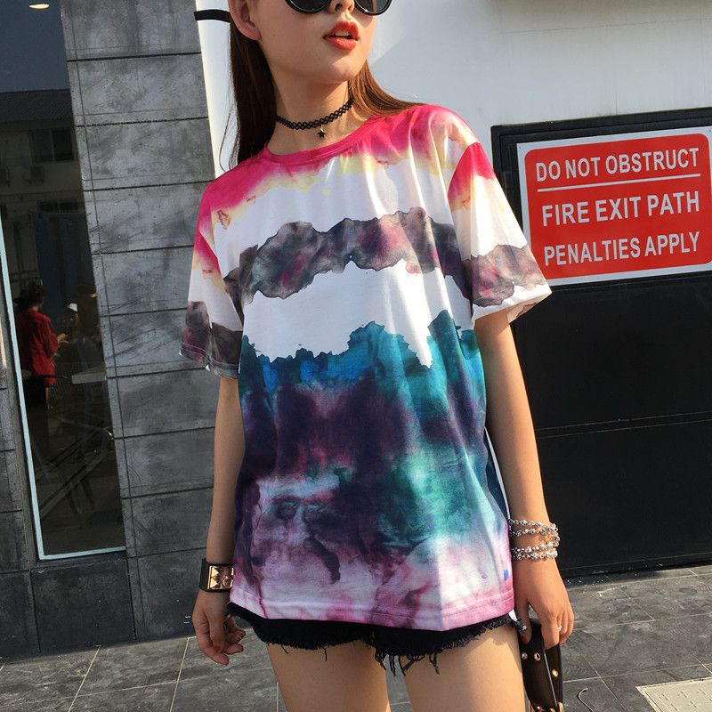 Gradually changing color AX Loose round collar short sleeved T-shirt female
