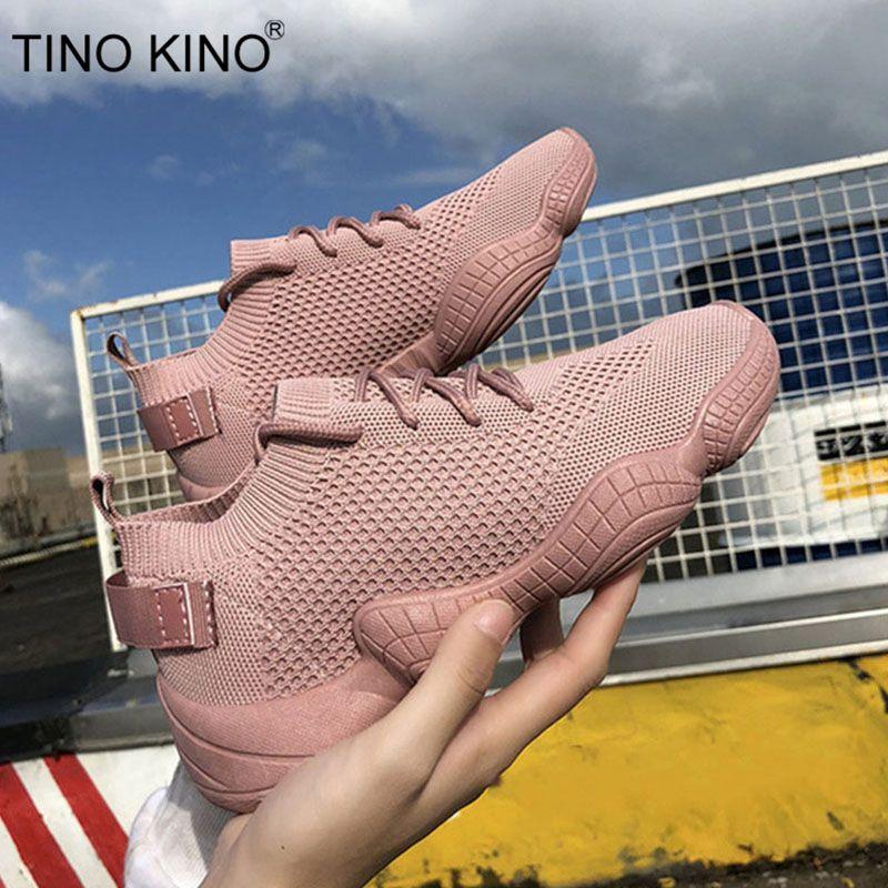 Baskets femmes maille plate automne dames à lacets Stretch tissu plate-forme vulcanisé chaussures décontractées femme respirant mode