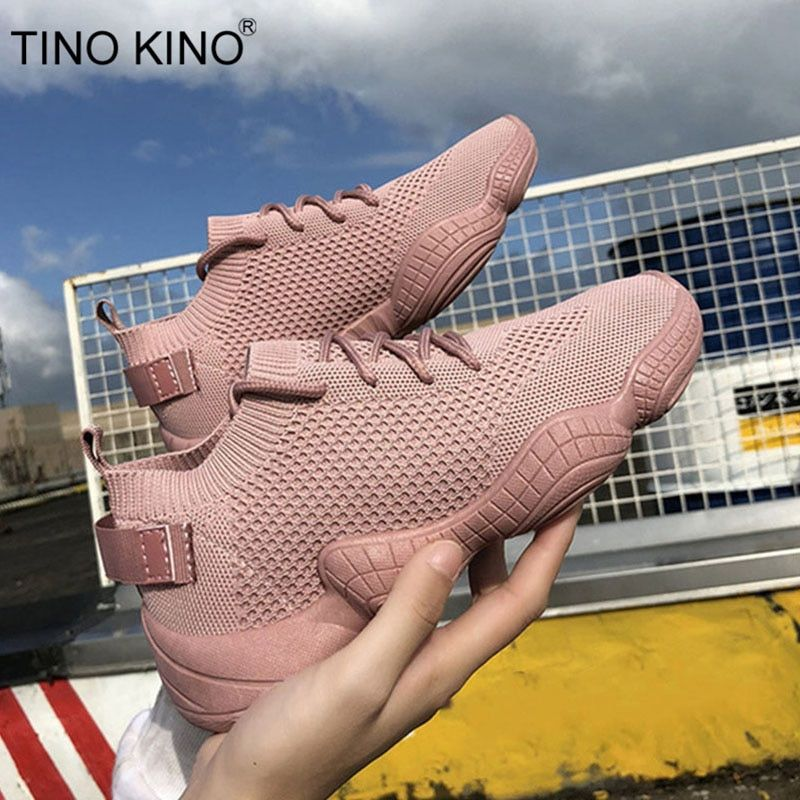 Sneakers Women Mesh Flat Autumn Ladies Lace Up Stretch Fabric Platform Vulcanized Casual Shoes Female Breathable Fashion