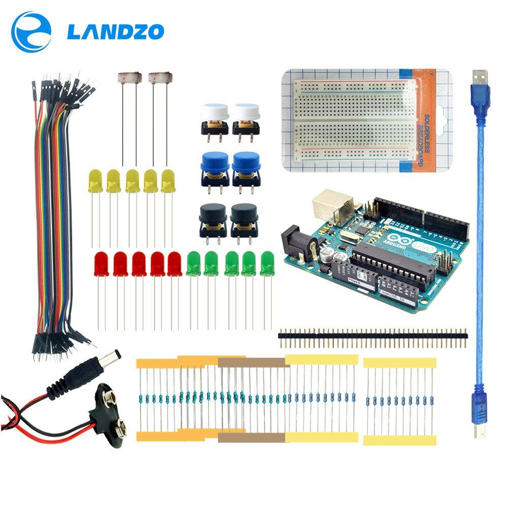 LANDZO arduino 13 in 1 kit new Starter Kit UNO R3 mini Breadboard LED jumper wire button arduino uno r3 as a gift