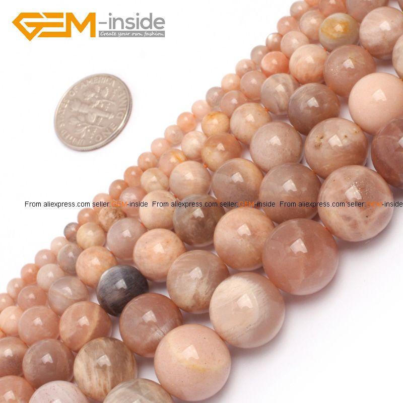 Gem-à l'intérieur 4-14mm Naturel Perles En Pierre Ronde Pierre Du Soleil Perles Pour Bijoux Faire Des Perles 15'' sunstone DIY Perles Cadeau Pour Les Femmes