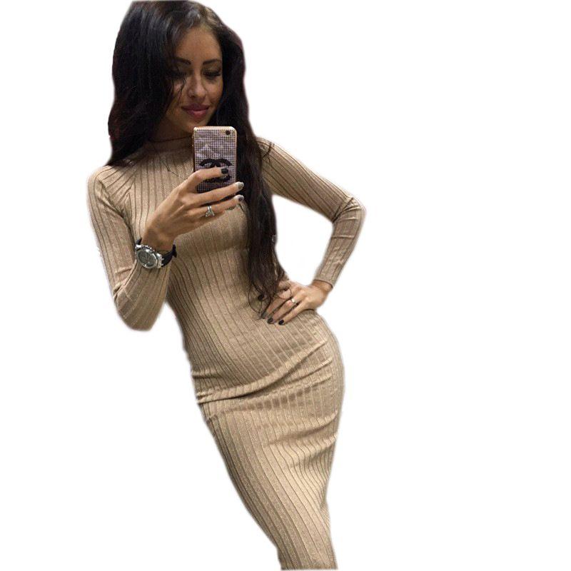 2018 Women's Autumn Spring Dresses Robe Sexy Black Midi Sheath Slim Bodycon Dress Long Sleeve Elegant Package Hip Dress GV424