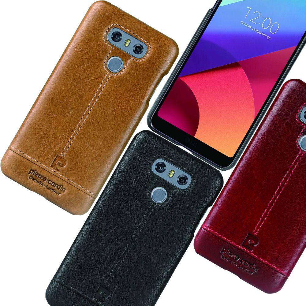 Pierre Cardin offre spéciale marque ultra-mince en cuir véritable couverture arrière rigide pour LG G6 étui de téléphone en cuir de luxe livraison gratuite