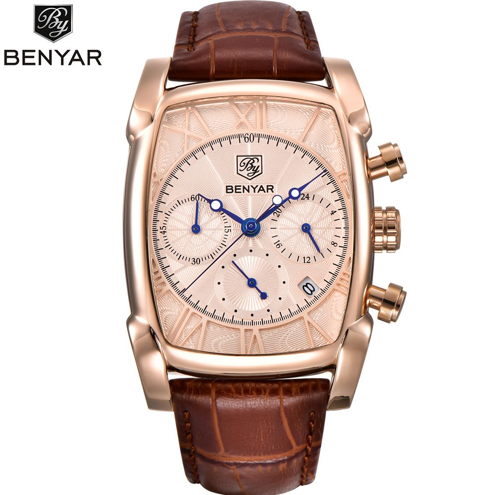 BENYAR Chronograph Sport Men Watches 2018 Luxury Brand Gold Rectangle Watch Men Leather Band Waterproof Quartz Wristwatch mens