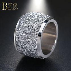 BOAKO Perak/Rose Warna Emas Stainless Steel Rings 16mm Frosting Permukaan Besar Pesta Pernikahan Band Cincin untuk Wanita perhiasan Z4