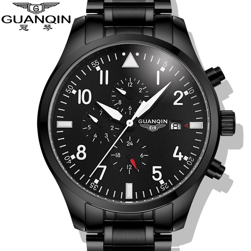 Watches Men 2015 GUANQIN Army Watches Full Steel Sport Military Men Wristwatch Black Automatic Mechanical Movement Luxury Brand