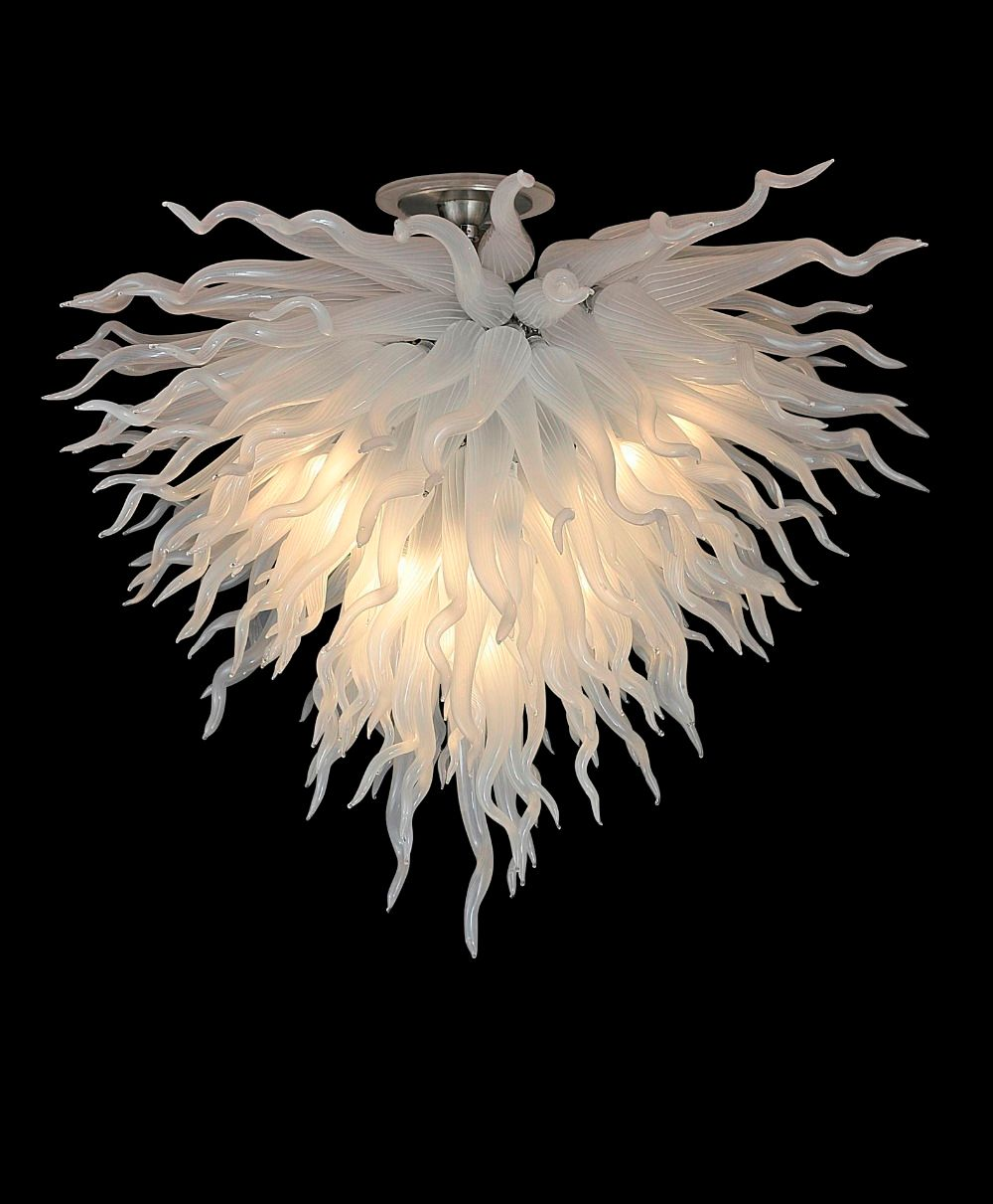 Freies Verschiffen Weiß Geblasen Murano Glas Hängen LED Moderne Kristall Designer Kunst Kronleuchter