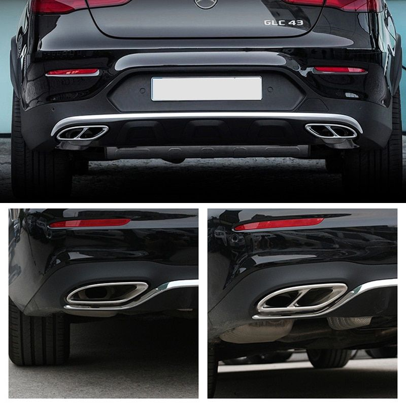 2pcs Gloss Black Steel Exhaust Trims For Mercedes Benz GLC C E-Class C207 Coupe 2014-2017 W212 W213 W205 X253 C180 C200 Car Part