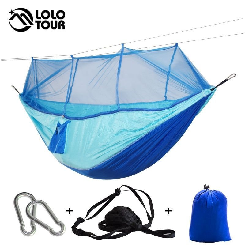Outdoor Camping Parachute Hammock Mosquito Net Flyknit Double Leisure Sleeping Hanging Chair Tent Travel <font><b>Survival</b></font> Army Green