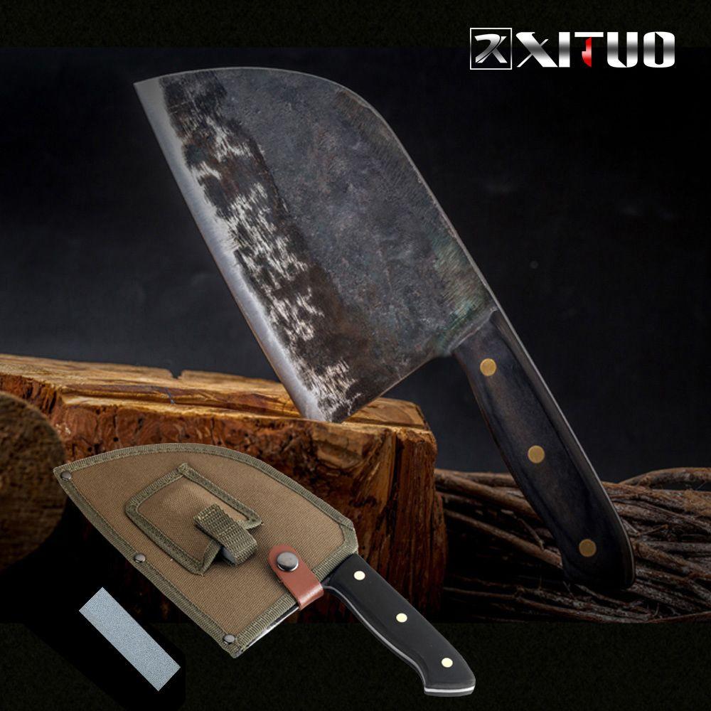 Couteau de Chef XITUO Full Tang fait à la main en acier forgé à haute teneur en carbone plaqué couteaux de cuisine couperet Filleting tranchage large couteau de boucher