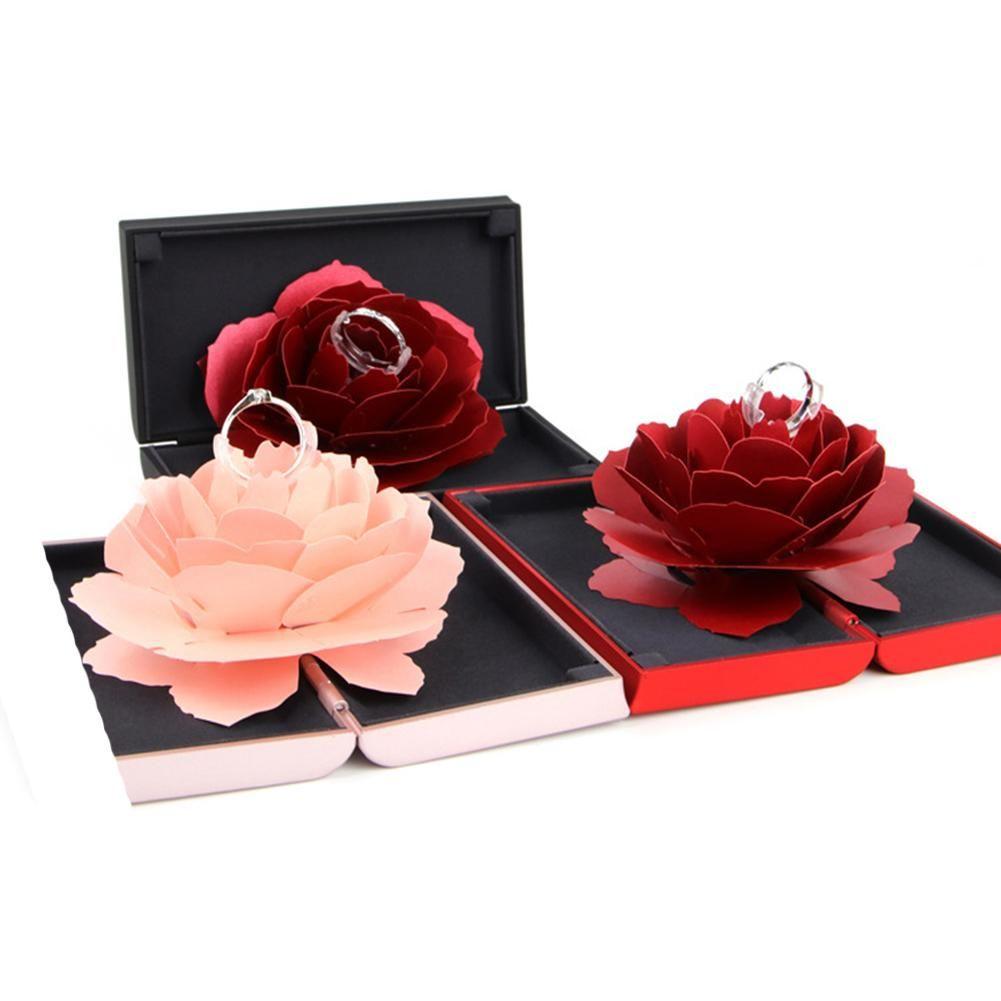 Unique Pop Up Rose Boîte De Mariage Bagues De Fiançailles Surprise Bijoux De Stockage Titulaire jour de valentine Meilleur Coffrets cadeaux Pour Les Femmes