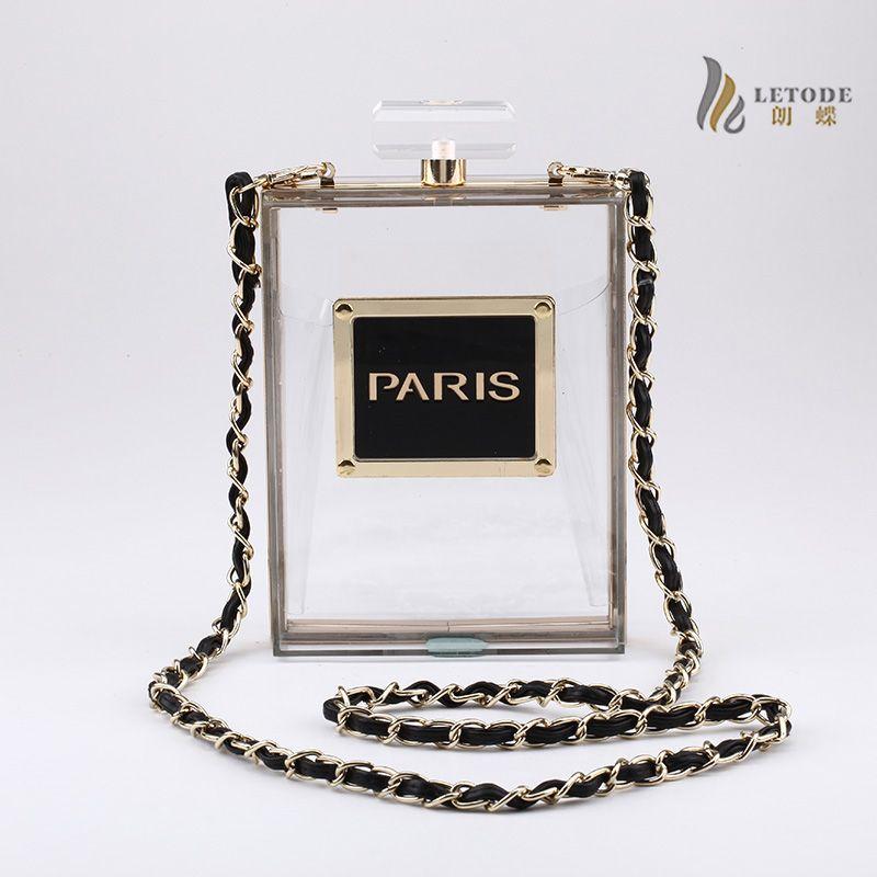 Perfume bottle solid lace Transparent women clutch bags acrylic luxury designer Single chain handbags fashion ladies purse 5046