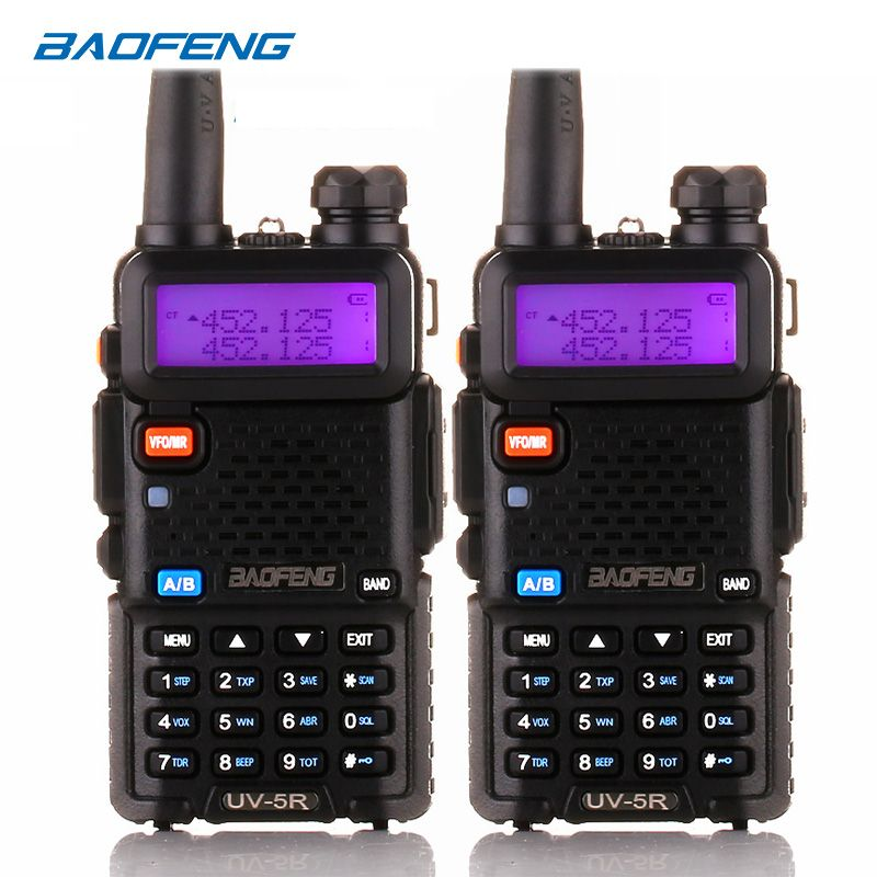 BaoFeng talkie walkie UV-5R 2 pcs/lot two way radio baofeng uv5r 128CH 5 W VHF UHF 136-174 Mhz et 400-520 Mhz