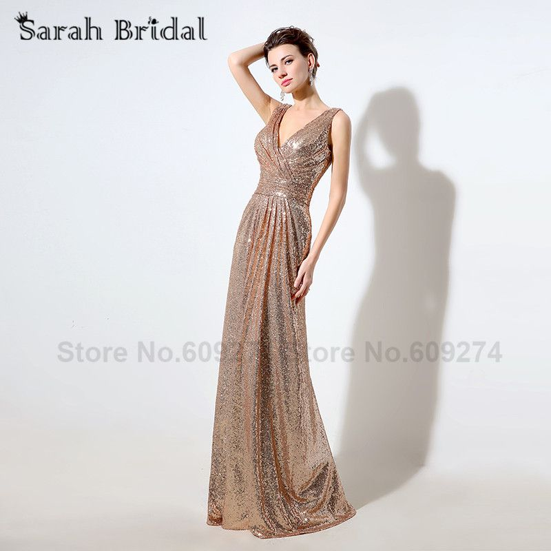 Sexy Rose Gold Sequins Pleat Mermaid Evening Dresses 2016 Sexy V-Neck Blinging Wedding Guest Outfits robe de soiree SD349