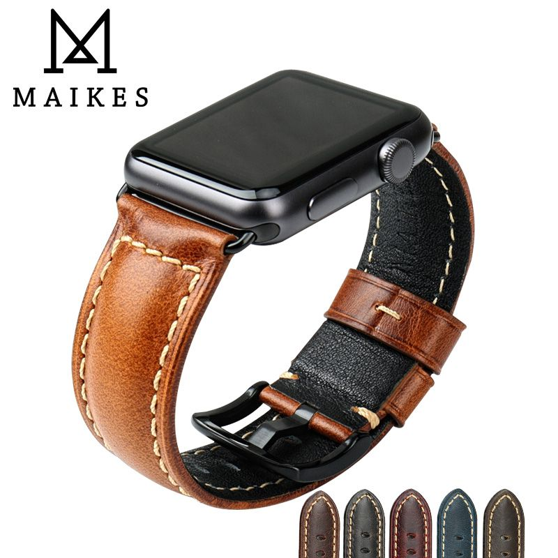 MAIKES huile cire cuir Bracelet pour Apple Bracelet de montre 42mm 38mm/44mm 40mm série 4 3 2 pour Apple montre Bracelet iWatch Bracelet