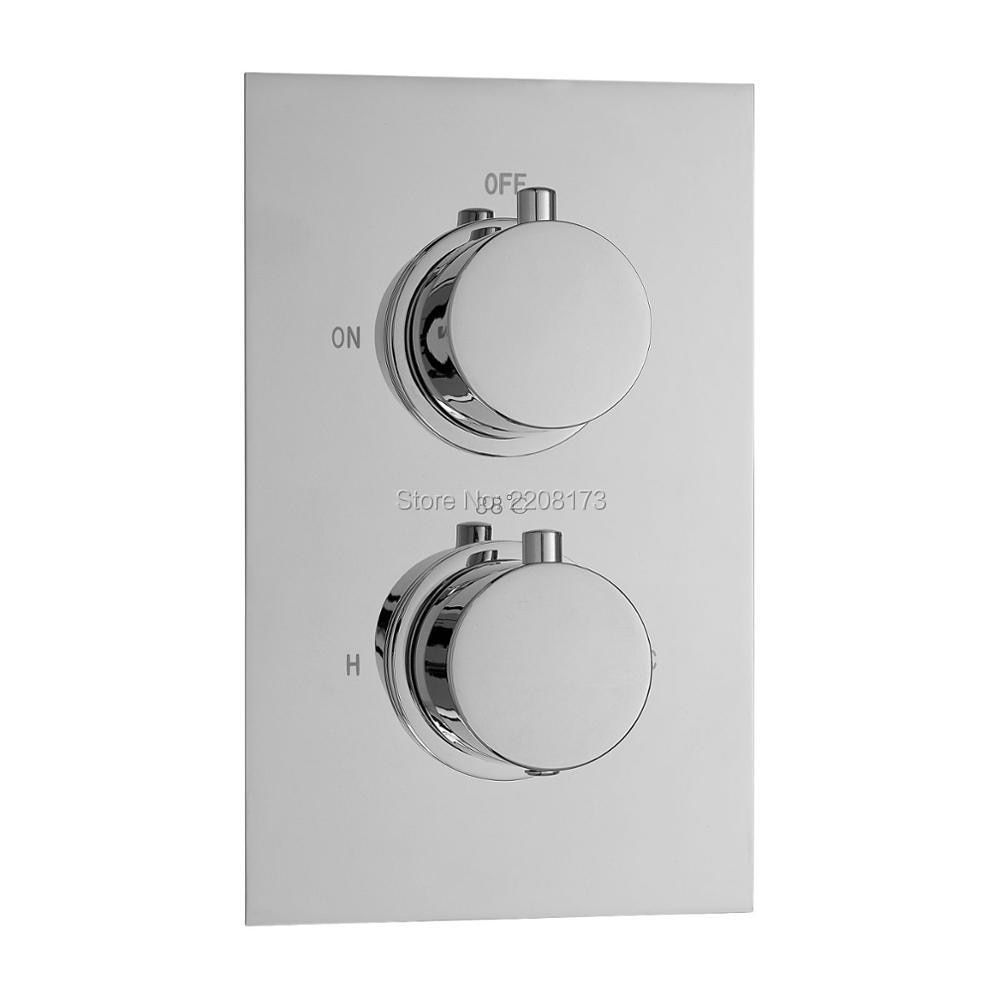 Smesiteli New Bathroom Living Promotions Solid Brass Concealed Thermostatic Shower Valve Mixer Water Tap Round 2 Dial 1 Way