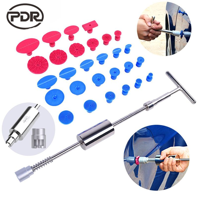 PDR Tools Kit DIY Car Paintless Dent Repair Dent Puller Slide Hammer <font><b>Reverse</b></font> Hammer Glue Tabs Fungi Suction Cup for Dent Remove