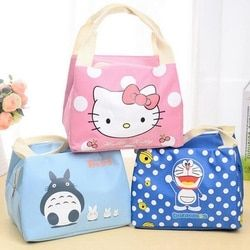 Chica lindo del gatito de la historieta portable almuerzo aislados Cold picnic lienzo Totes llevar caso para niños mujeres bolsa térmica