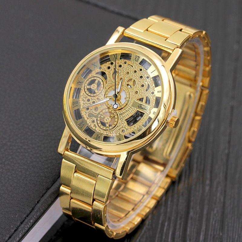 New Fashion Quartz Skeleton watch Men Women Brand Stainless steel Watch transparent Hollow Watches Imitation Mechanical Clock
