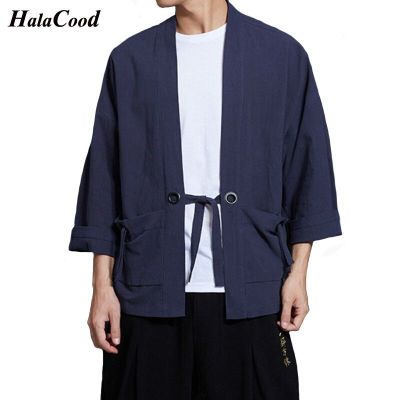 2018 Fashion New Chinese Style Shirts Men's Linen Solid Robes Tang Suit Coat Loose Wind Breeze Cardigan Kimono Spring Summer Fat