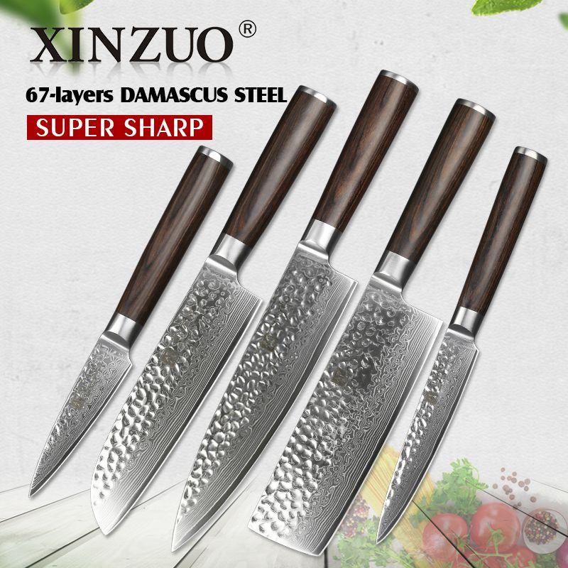 XINZUO 4 stücke küchenmesser sets China 67 schichten hohe carbon Damaskus edelstahl küchenchef utility messer set pakkaholz griff