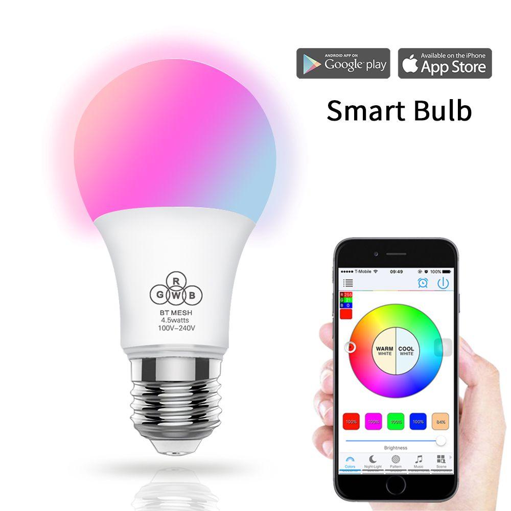Bluetooth LED Ampoule 4.5 w E27 RGBW led lumières Bluetooth 4.0 smart éclairage lampe changement de couleur dimmable par Téléphone IOS /Android APP
