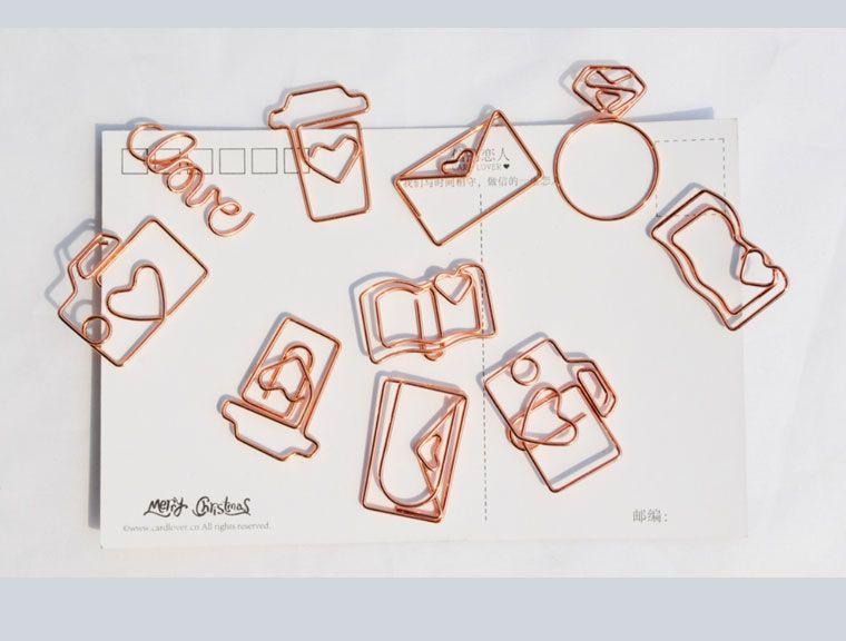Envío de la nueva llegada de oro rosa diamante clip de amor serie de metal clip bookmark amistad con clips metálicos de papel