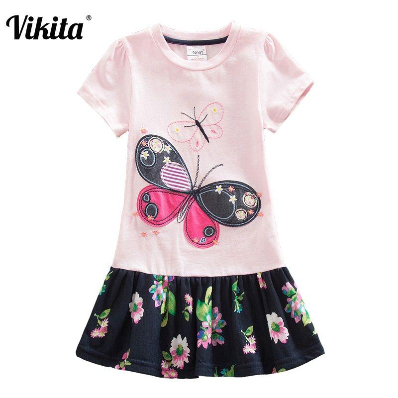VIKITA 4-8Y robe pour filles vêtement pour enfants tutu motif floral Princesse Enfants robes vêtements été Filles Floweral Robe SH5460