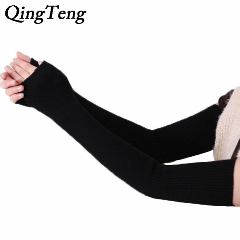 40cm 50cm 60cm Winter arm Female gloves Fingerless cashmere wool warm thin long women gloves guantes mujer