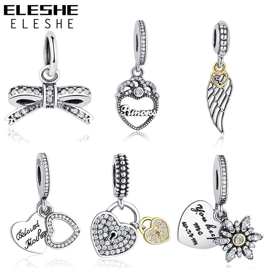 Argent Charmes Fit Original Pandora Charm Bracelet Collier 925 Sterling Silver Bow Amour Coeur Charms Perles DIY Bijoux