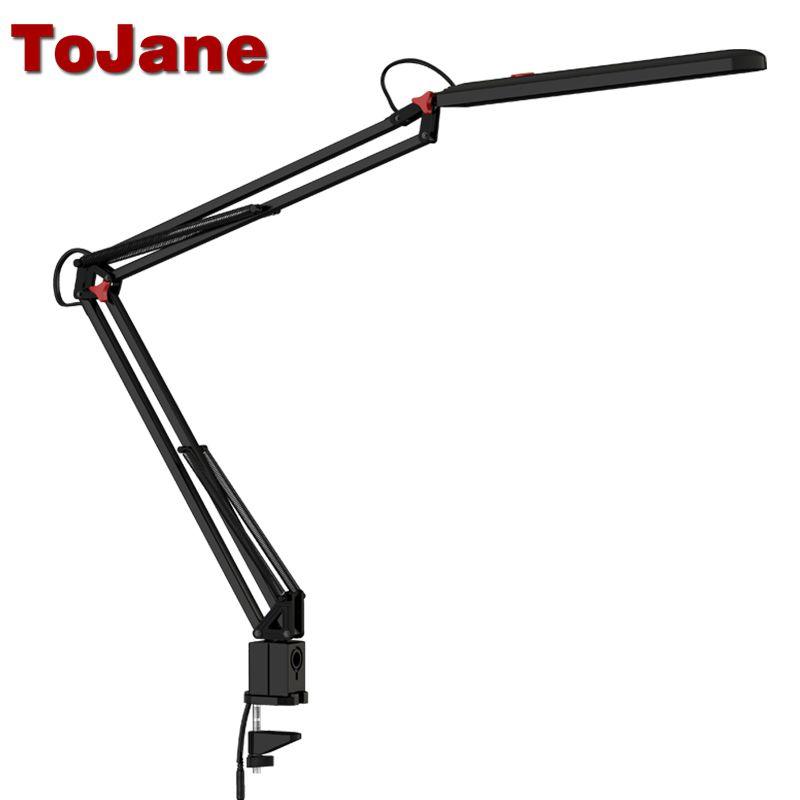 ToJane TG988 Desk Lamp <font><b>Clip</b></font> Office Led Desk Lamp Flexible Led Table Lamp Reading Led Light 3-Level Brightness&Color