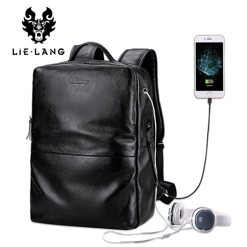 LIELANG Backpack Men Genuine Leather Rucksack Fashion Teenage Boys School Bags Laptop Backpacks 15.6 inch Travel Bag New 2017