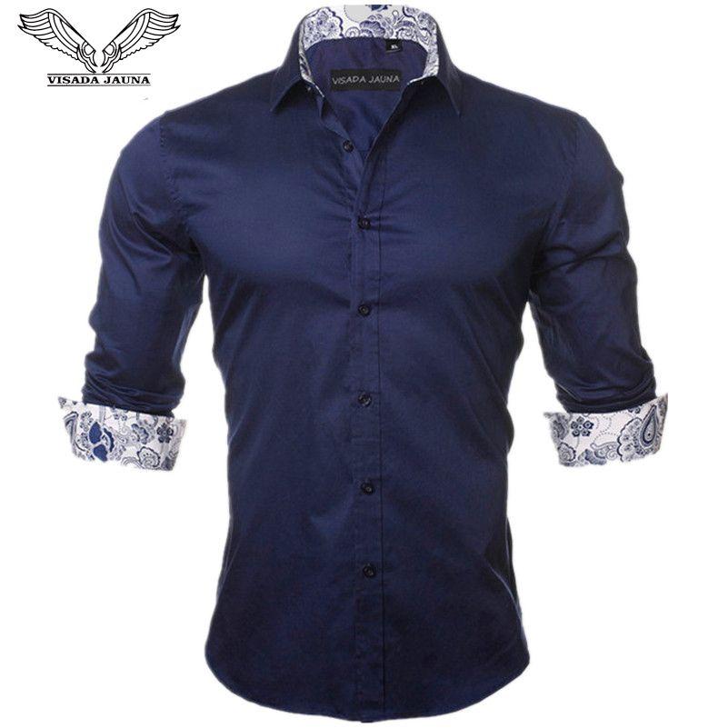 VISADA JAUNA Men's Shirt 2017 New <font><b>Arrivals</b></font> Fashion Casual Style Long Sleeve Solid 100% Cotton Slim Fit Dress Male Shirts N795
