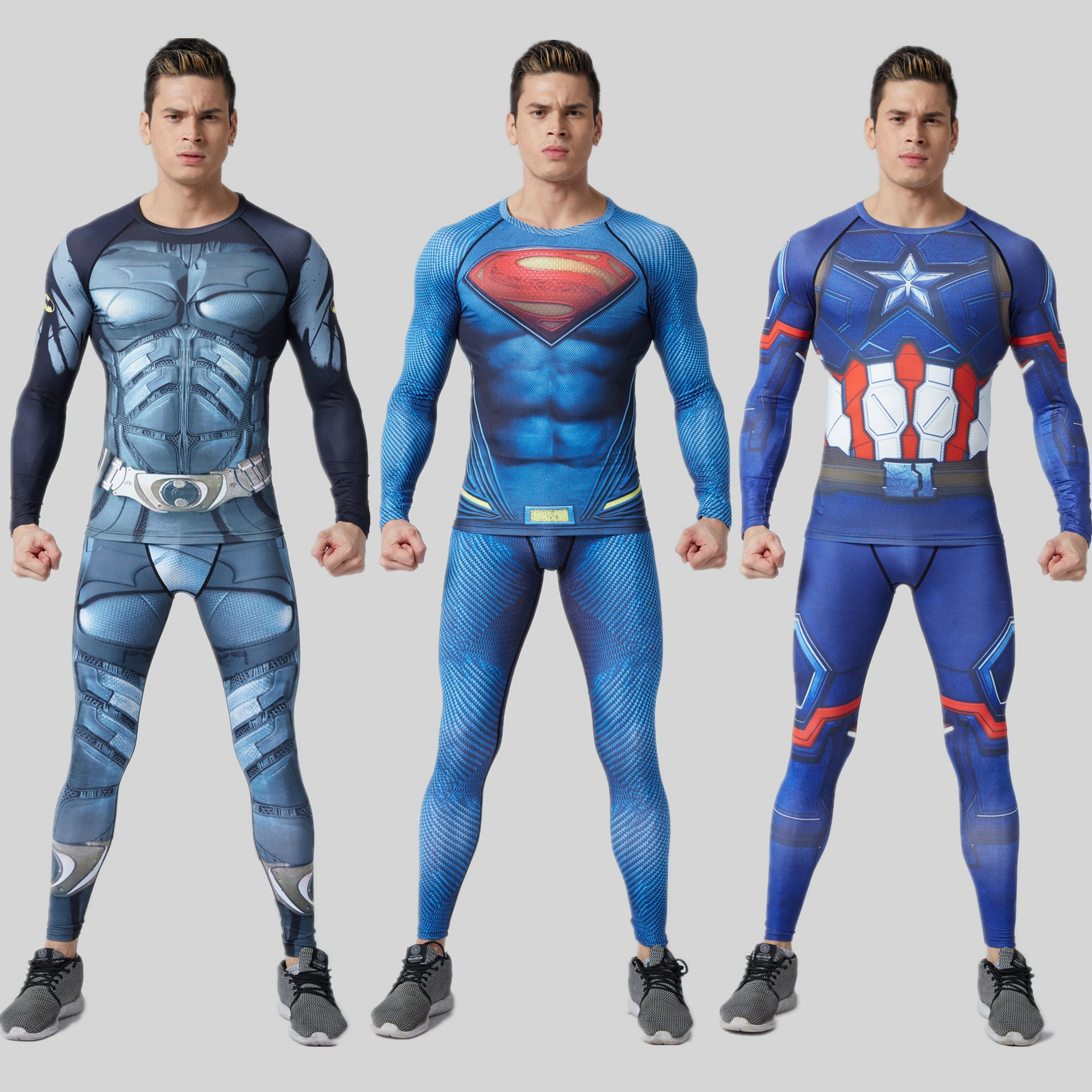 T-shirt 2-piece suit Men wear MMA Superman deformation steel Batman tights T-shirt Super hero quick-drying men's fitness clothes