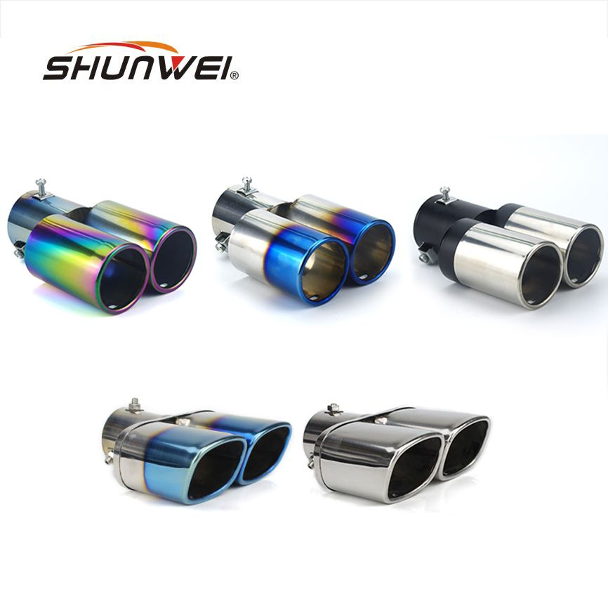 Car Auto Round Exhaust Muffler Tip Stainless Steel Exhause 1 to 2 Dual Pipe Chrome Trim Modified Car Rear Tail Throat Liner