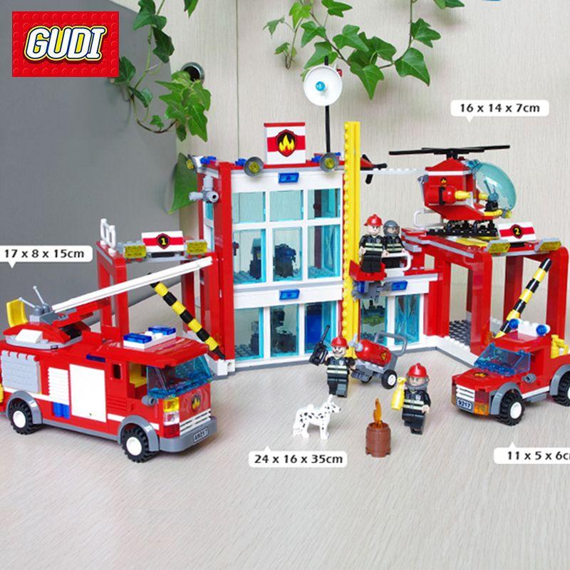 GUDI 874PCS Large Fire Rescue Set Assembled DIY Building Blocks Fire Station Helicopter Truck Toys Fireman Figures Bricks Model
