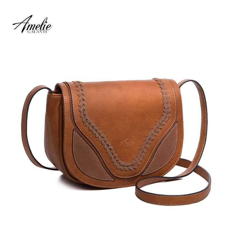 AMELIE GALANTI crossbody bags for women causal saddle purse and handbags flap solid soft high quality PU leather