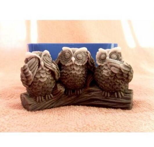 3D сова силиконовые формы сова мыло формы Совы силиконовые формы для мыла Совы силикагель die птиц, аромат каменных форм птица Свеча Плесень