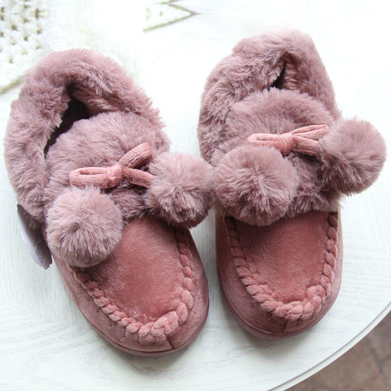 Hiver femmes fourrure doux intérieur maison pantoufles chaussures hommes épais en peluche mignon balles Couple amant chaussures adultes