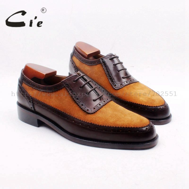 cie Custom Handmade Round Toe Brown Suede Matching Genuine Calf LeatherDark Brown Men's Oxford Shoe No.OX712 adhesive craft
