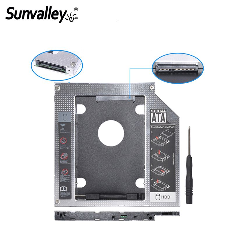 2nd HDD Caddy SATA 3.0 To SATA 2.5 SSD HDD Case 9.5mm Universal Aluminum Metal Material For Laptop ODD CD-ROM DVD-ROM OptiBay