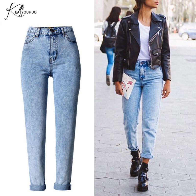 Hiver 2018 Solide Lavage Blanchi Femelle Boyfriend Jeans Pour Femmes Bleu Taille Haute Denim Lâche Dames Skinny Jeans Femme Maman jeans